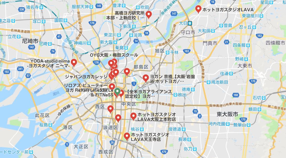 ヨガ大阪マップ