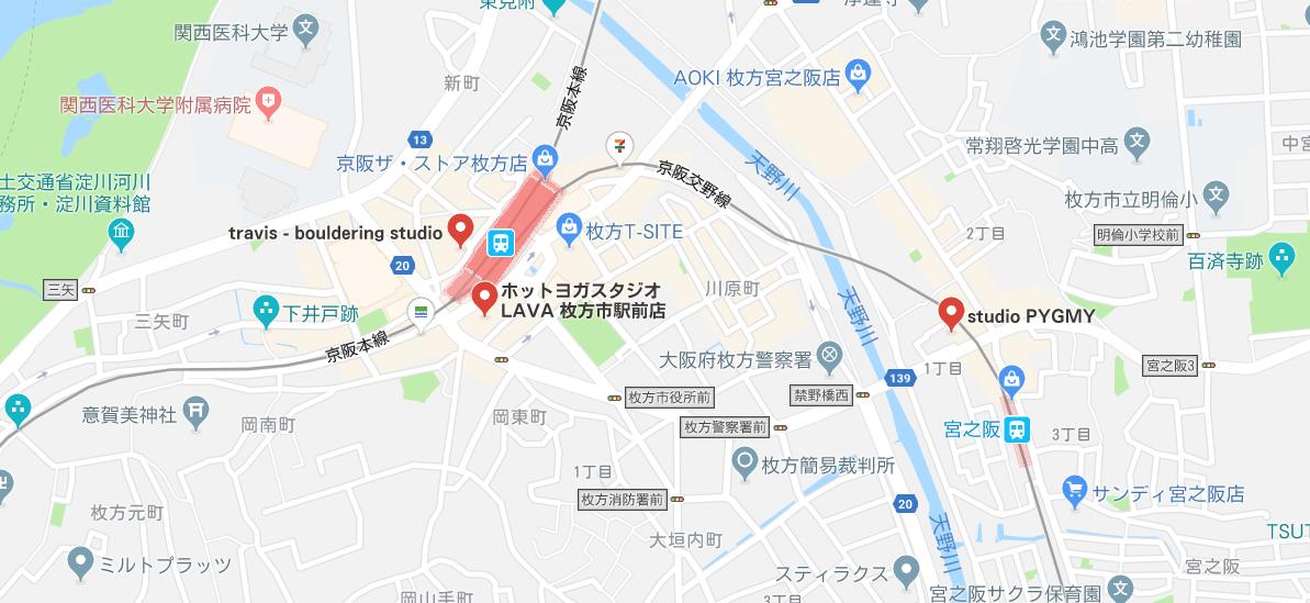 枚方市内のヨガグーグル地図検索結果
