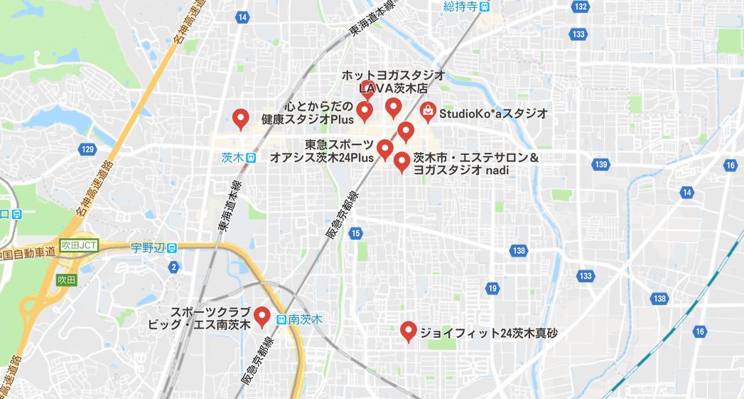 茨木ヨガのマップ検索