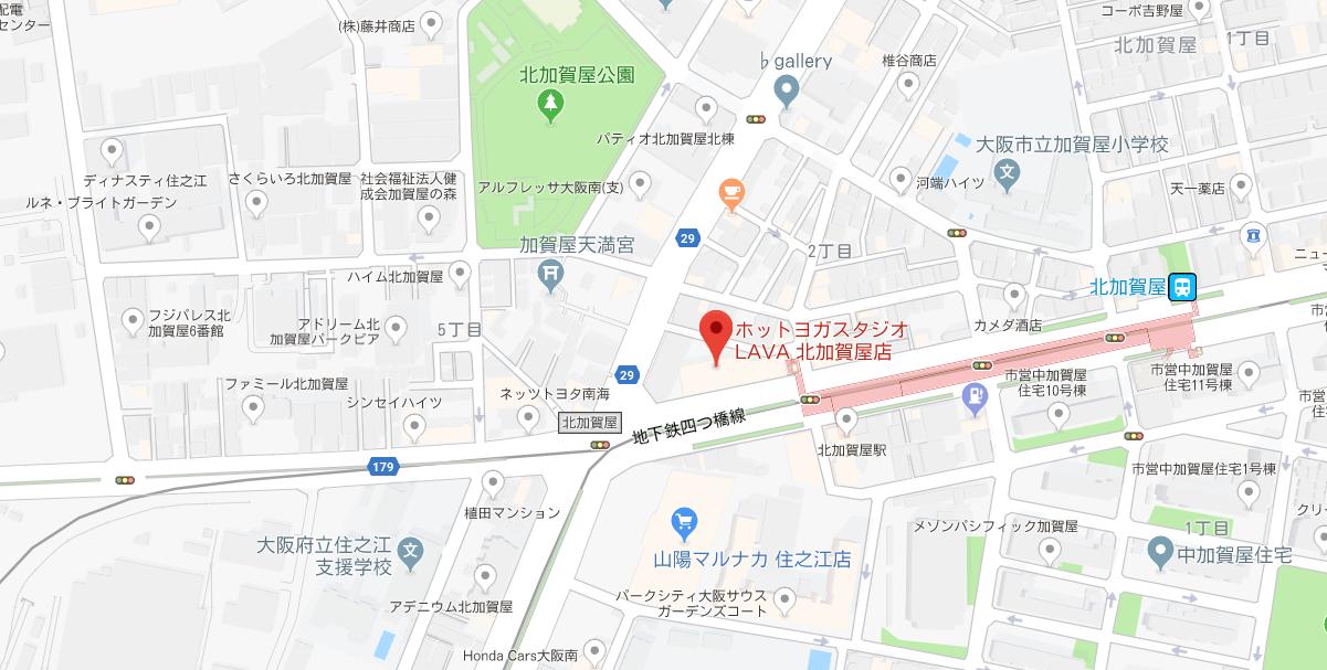 北加賀屋のヨガ、グーグルマップ検索