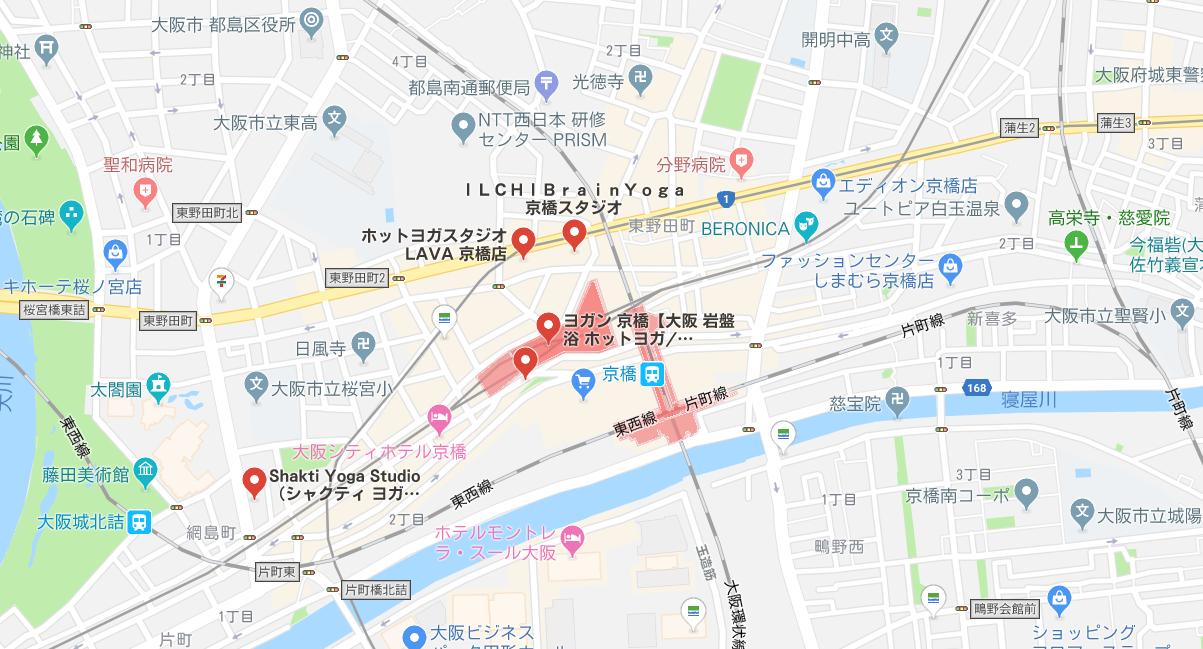 京橋駅周辺ヨガマップ