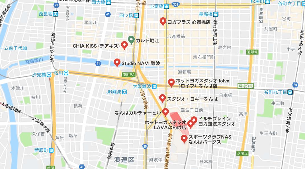 ヨガ難波地図検索