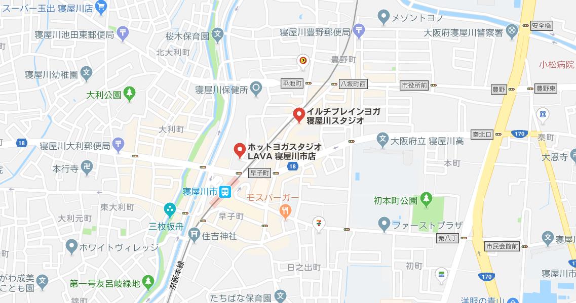 寝屋川市駅周辺のヨガ、グーグルマップ検索