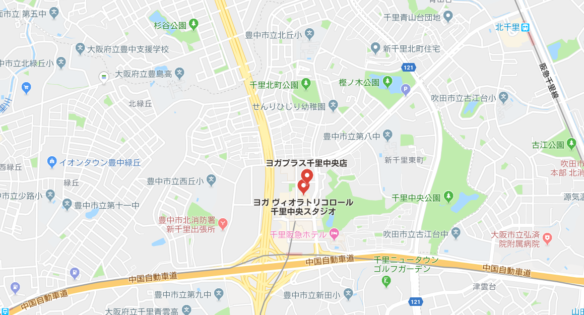 千里中央駅周辺のヨガマップ
