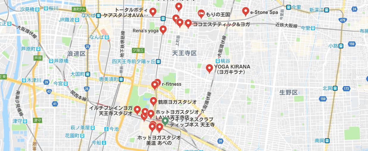 天王寺駅周辺のヨガマップ