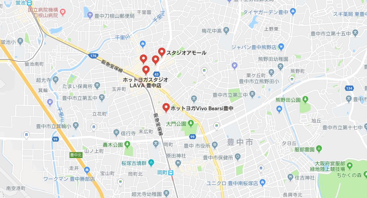 豊中駅周辺のヨガ地図検索結果のキャプチャ