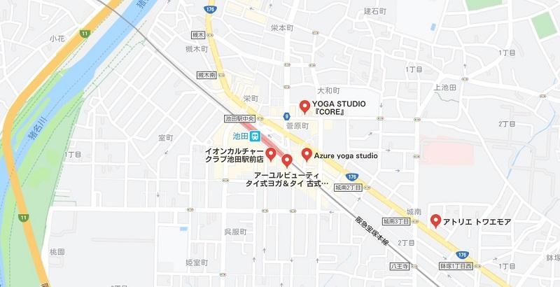 池田のヨガスタジオ、マップ検索結果